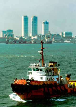 Colombo's skyline with Twin Towers and Bank of Ceylon